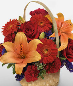 Flaming Hues-Orange,Red,Carnation,Gerbera,Lily,Rose,Arrangement,Basket