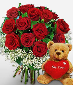 Roses N Teddy Combo-Red,Rose,Teddy Bear,Bouquet