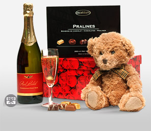 Bear And Bubbles-Chocolate,Gourmet,Teddy,Wine,Hamper,Soft Toys,Sweets