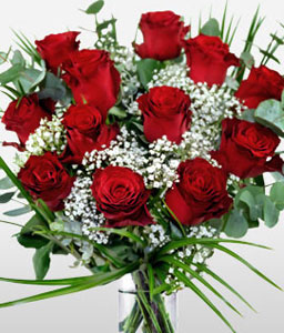 Passionate Dozen-Red,Rose,Bouquet