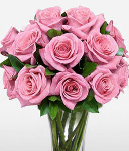 Goddess 12 Pink Roses-Pink,Rose,Arrangement