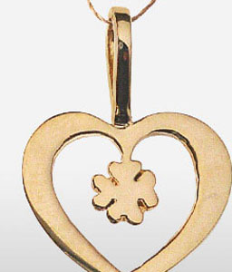 Gold Heart Pendent With Clove Leaf-Jewellery,Gifts