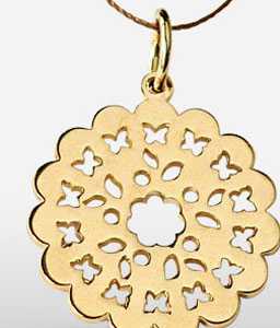 Gold Floral Pattern Pendent
