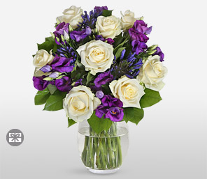 Roses And Lisianthus-Green,Purple,White,Rose,Arrangement