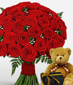 50 Red Roses With Teddy & Chocolates-Red,Rose,Bouquet