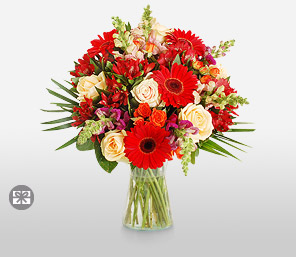 Colors of Red-Orange,Peach,Pink,Red,Gerbera,Rose,Bouquet