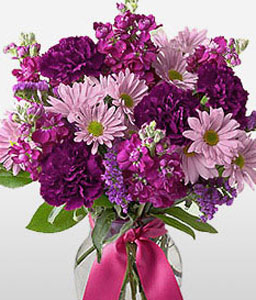Majestic Blaze-Purple,Violet,Carnation,Daisy,Arrangement