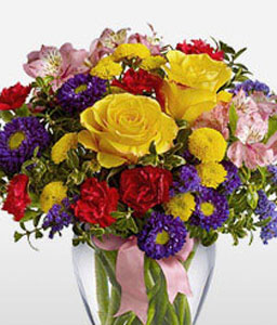 Felicity-Red,Mixed,Violet,Orange,Yellow,Purple,Carnation,Chrysanthemum,Rose,Alstroemeria,Arrangement