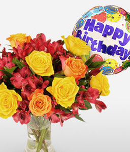 Birthday Surprise-Red,Mixed,Orange,Freesia,Rose,Bouquet
