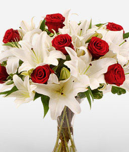 Fire & Ice-Red,White,Lily,Rose,Arrangement