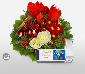 Santa Surprise-Green,Red,White,Chocolate,Chrysanthemum,Rose,Pine,Arrangement