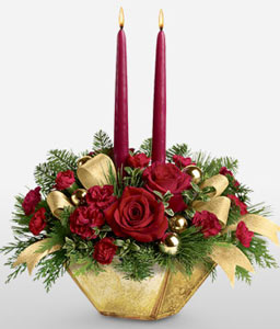 Red Christmas Centerpiece-Green,Red,Candle,Centerpiece,Arrangement