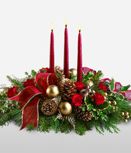 Christmas Advent Centerpiece-Green,Red,White,Carnation,Rose,Candle,Centerpiece,Pine,Arrangement