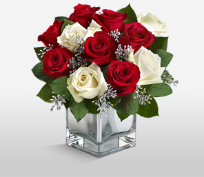 Christmas Glow-Red,White,Rose,Arrangement
