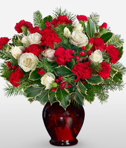 Red Christmas Flowers-Green,Red,White,Carnation,Rose,Arrangement,Bouquet