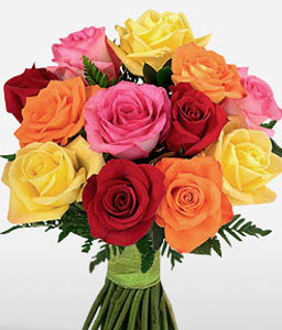 Rainbow Roses-Mixed,Orange,Pink,Red,Yellow,Rose,Bouquet