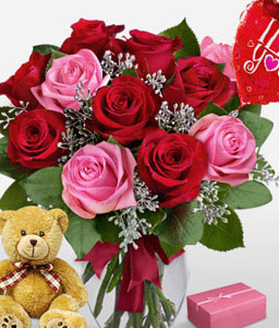 Sinful Surprise-Pink,Red,Balloons,Chocolate,Rose,Teddy Bear,Arrangement