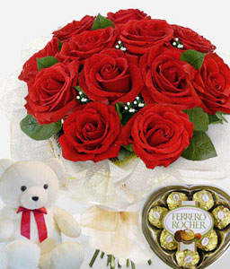 Trio Amor-Red,Chocolate,Rose,Teddy Bear,Soft Toys,Gifts