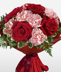 Lovers Embrace - Anniversary Flowers-Pink,Red,Carnation,Rose,Bouquet