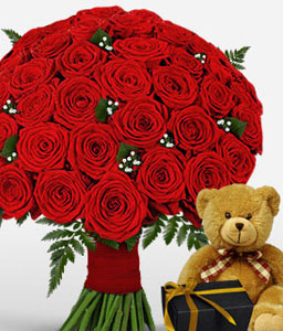 50 Red Roses with Teddy & Chocolates-Red,Chocolate,Rose,Teddy Bear,Bouquet,Soft Toys