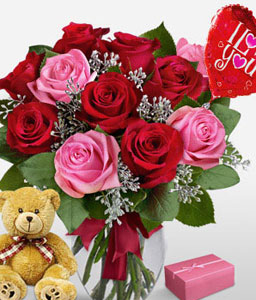 Surprise - Roses + Teddy + Chocolates-Pink,Red,Balloons,Chocolate,Rose,Arrangement