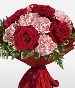 Dahlia Embrace - Red Roses & Pink Carnations-Pink,Red,Carnation,Rose,Bouquet