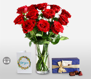 Romantic Gift Combo-Red,Balloons,Chocolate,Rose,Bouquet
