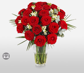 Siren 24 Red Roses-Red,Rose,Bouquet