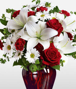 Be My Love-Red,White,Mixed,Rose,Daisy,Lily,Bouquet