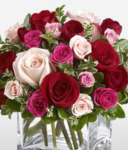 Abundant Love-Mixed,Peach,Pink,Red,Rose,Arrangement