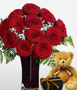 Love Medley-Red,Chocolate,Rose,Teddy Bear,Bouquet,Soft Toys
