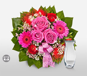 Timeless Love-Green,Mixed,Pink,Red,Gerbera,Rose,Arrangement