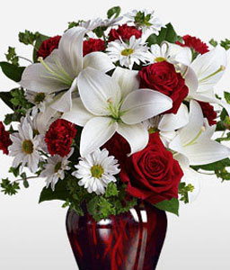 Be My Love-Red,White,Daisy,Lily,Rose,Arrangement,Bouquet