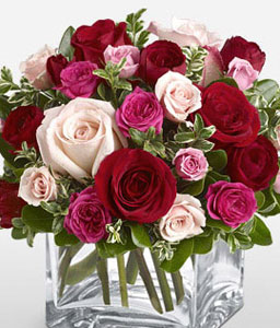 Abundant Love-Pink,Red,Rose,Bouquet