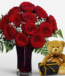 Love Medley-Red,Chocolate,Teddy Bear,Arrangement,Soft Toys