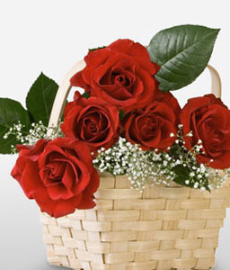 Regal Ecstasy - 6 Red Roses in Basket-Red,Rose,Basket