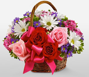 Basket Of Love-Red,White,Chrysanthemum,Rose,Arrangement,Basket