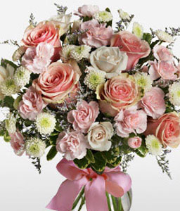 Cotton Candy-Peach,Pink,White,Carnation,Chrysanthemum,Bouquet