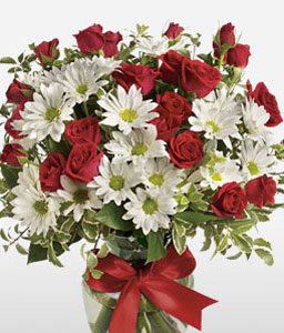 Roses And Daisies-Red,White,Chrysanthemum,Daisy,Rose,Arrangement,Bouquet