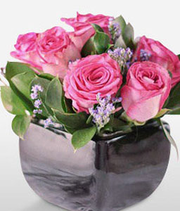 Pink Roses In Black Vase-Pink,Rose,Arrangement,Gifts