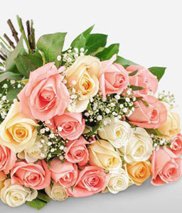Pastel Perfection-Mixed,Peach,Pink,White,Rose,Bouquet