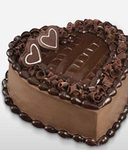 Heart Shape Chocolate Cake 1 Kg-Chocolate,Cakes,Sweets,Gifts