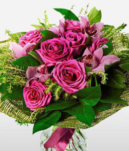 Grand Spectacle<Br><Font Color=Red>Bouquet of Roses & Orchids</Font>