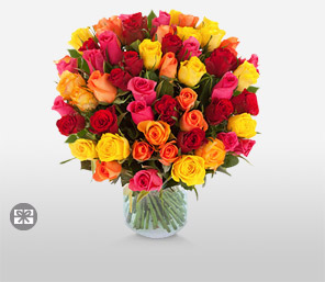 Carnival Roses-Mixed,Orange,Pink,Red,Rose,Bouquet