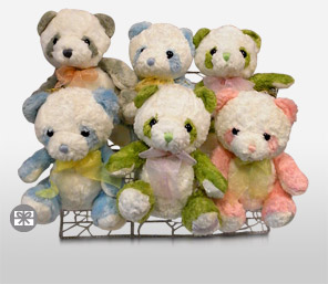 Panda Bears In A Basket-Teddy Bear,Basket,Soft Toys,Gifts