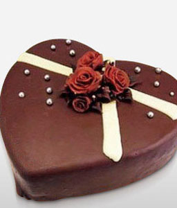 Heart Shape Chocolate Cake - 44oz/1.2kg-Chocolate,Cakes,Sweets,Gifts