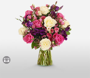 Majestic Pink-Lavender,White,Mixed,Pink,Purple,Rose,Bouquet