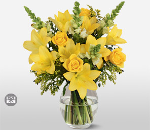 Sunny Yellow-White,Yellow,Lily,Rose,Bouquet