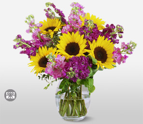 My Sunshine-Mixed,Cerise,Purple,Yellow,Rose,SunFlower,Bouquet