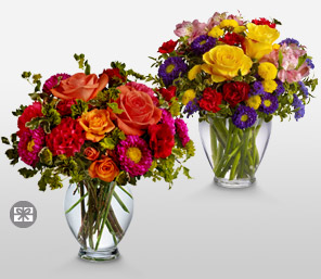 Delightfully Different-Mixed,Pink,Purple,Red,Violet,Yellow,Rose,Mixed Flower,Chrysanthemum,Carnation,Alstroemeria,Arrangement